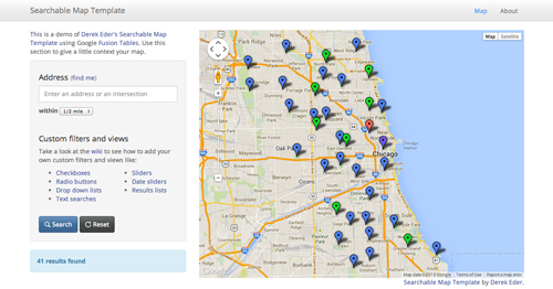 Searchable Map Template screenshot
