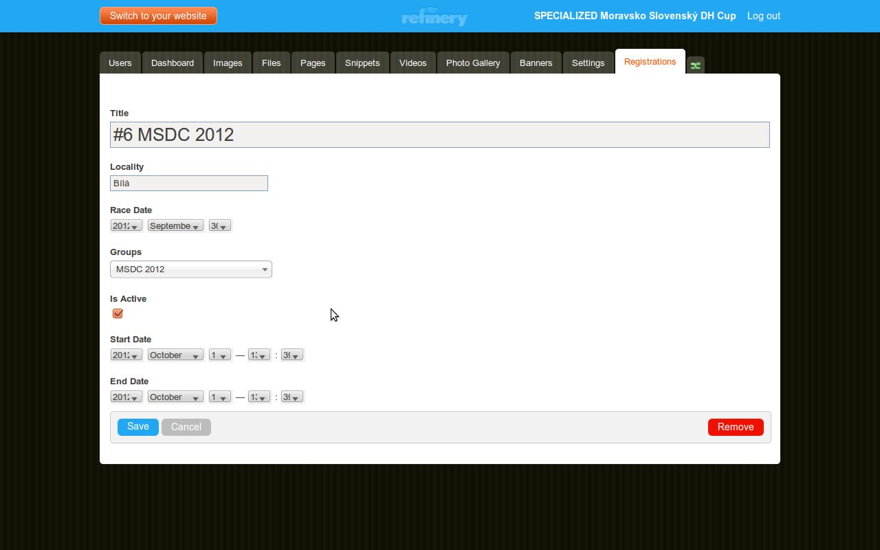 Edit registration