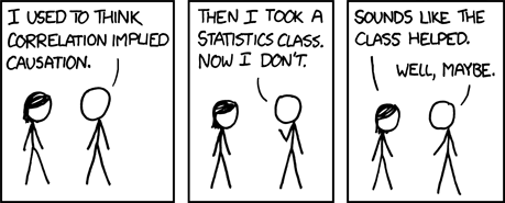 I used to think correlation was causation but then I took a statistics course.