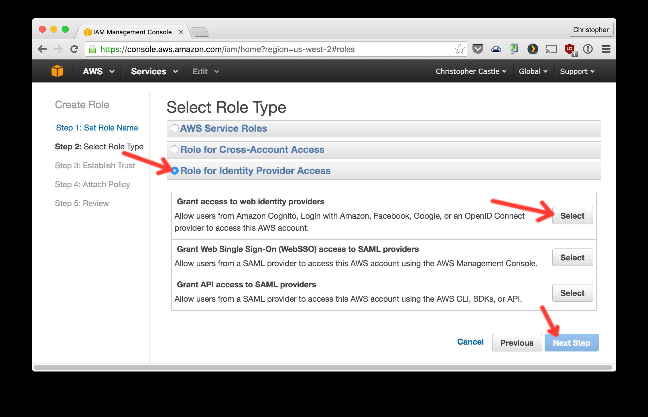 Grant web access to identity providers