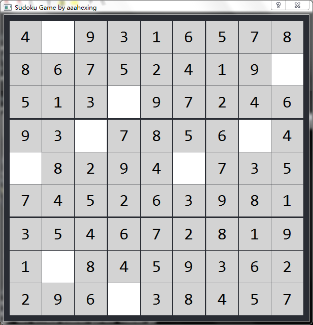 GitHub - aaahexing/Sudoku: An sudoku game implemented with pyQt