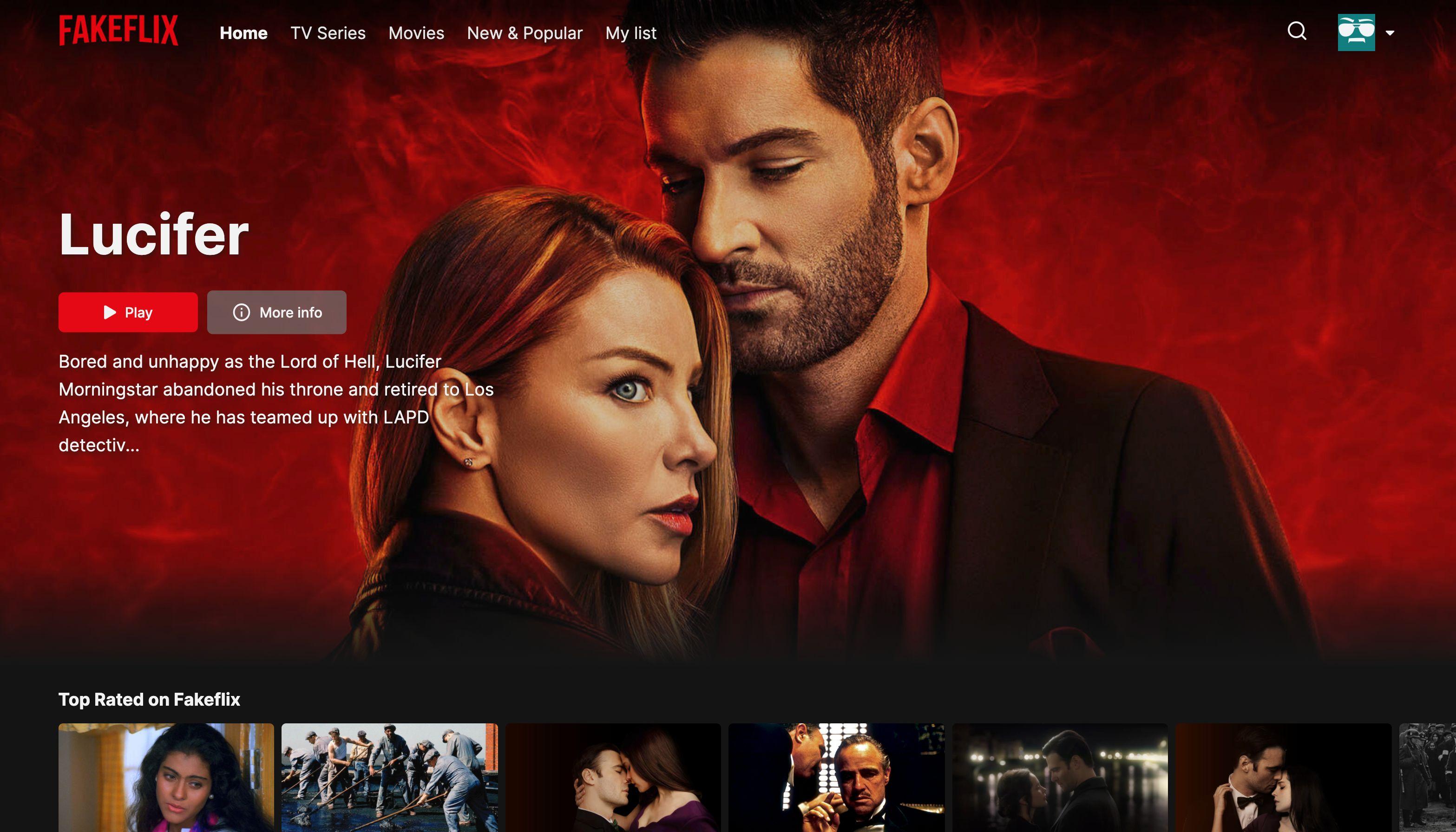Screenshot of Fakeflix Homepage