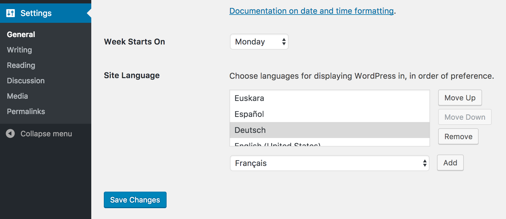 Preferred Languages: Settings Section