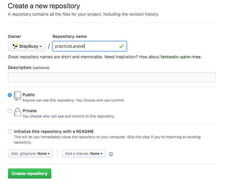 Creating a new repo