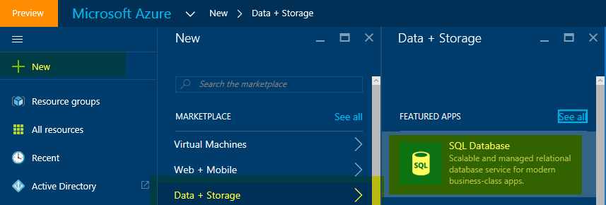Create a SQL Azure database