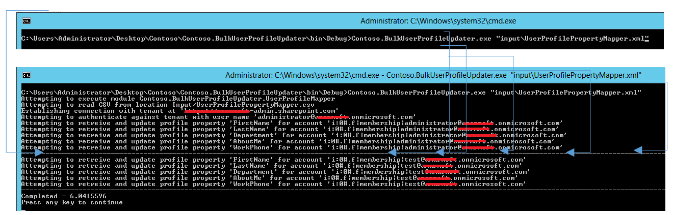 Console application execution fo application