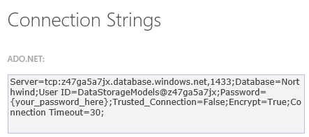An image of an ADO.NET connection string.