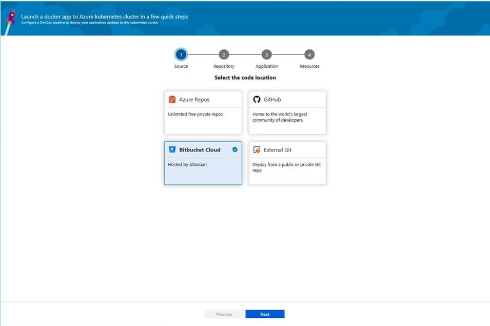Support for Bitbucket repositories in Deployment Center for AKS and Web App for containers