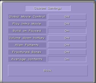 custom settings