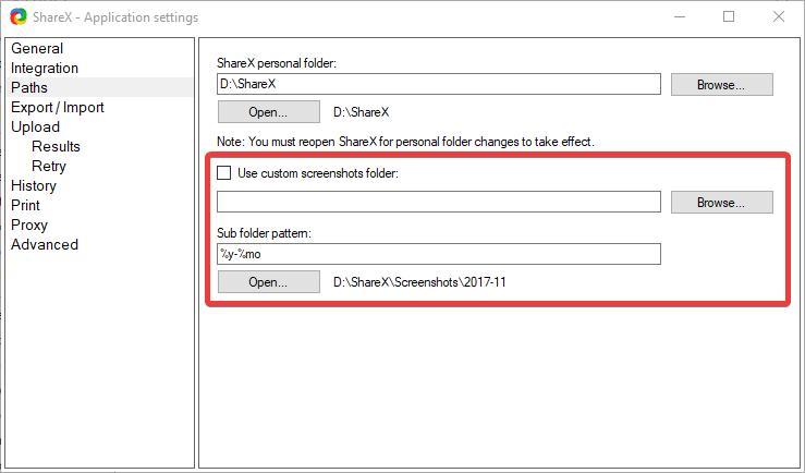 How can I change the default screenshots folder destination