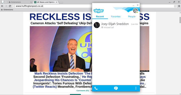 Screenshot of Skype For ChromeOS - Sourced from OMGChrome!
