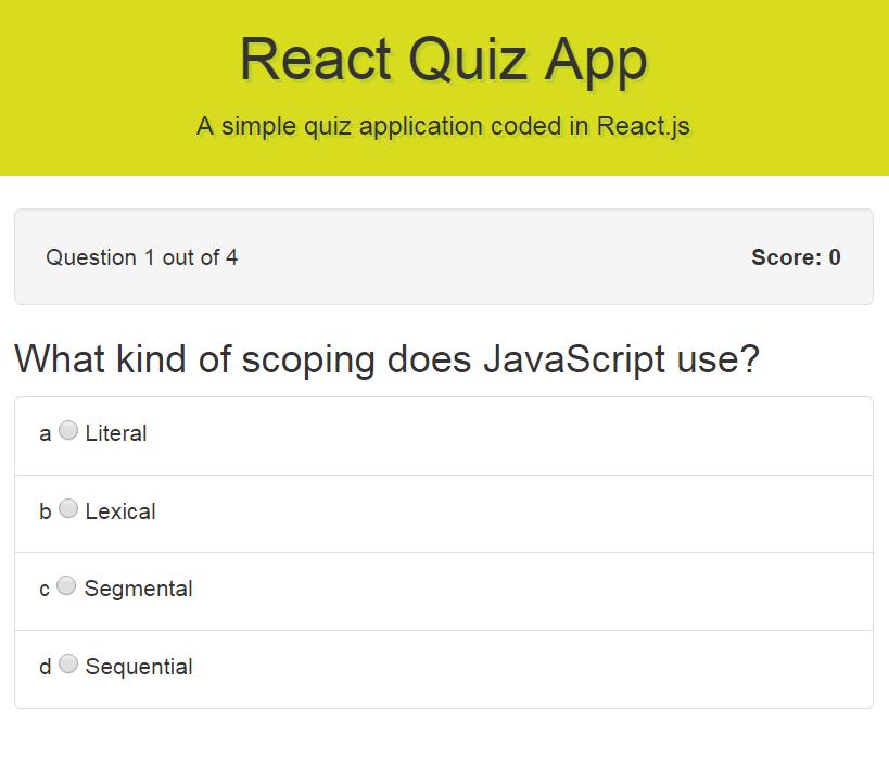 GitHub - navdeepsingh/react-quiz-app: Simple quiz crafting
