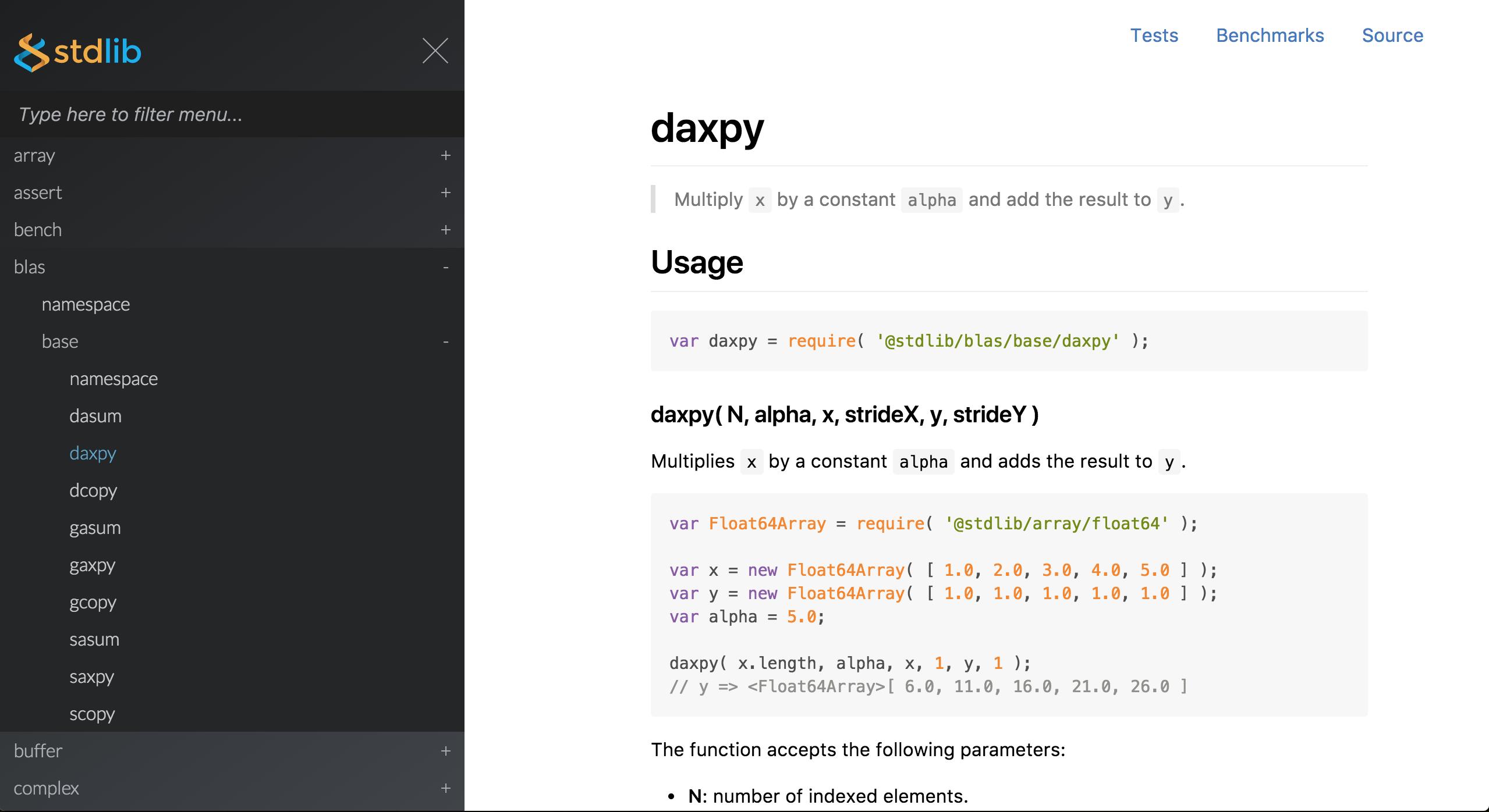 Demo showcasing BLAS APIs