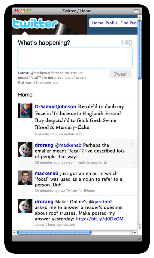 Twitdrang timeline