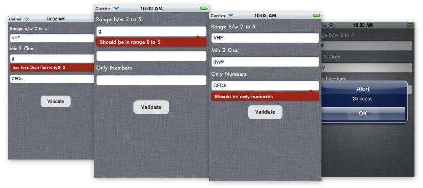 iOSValidator framework screen
