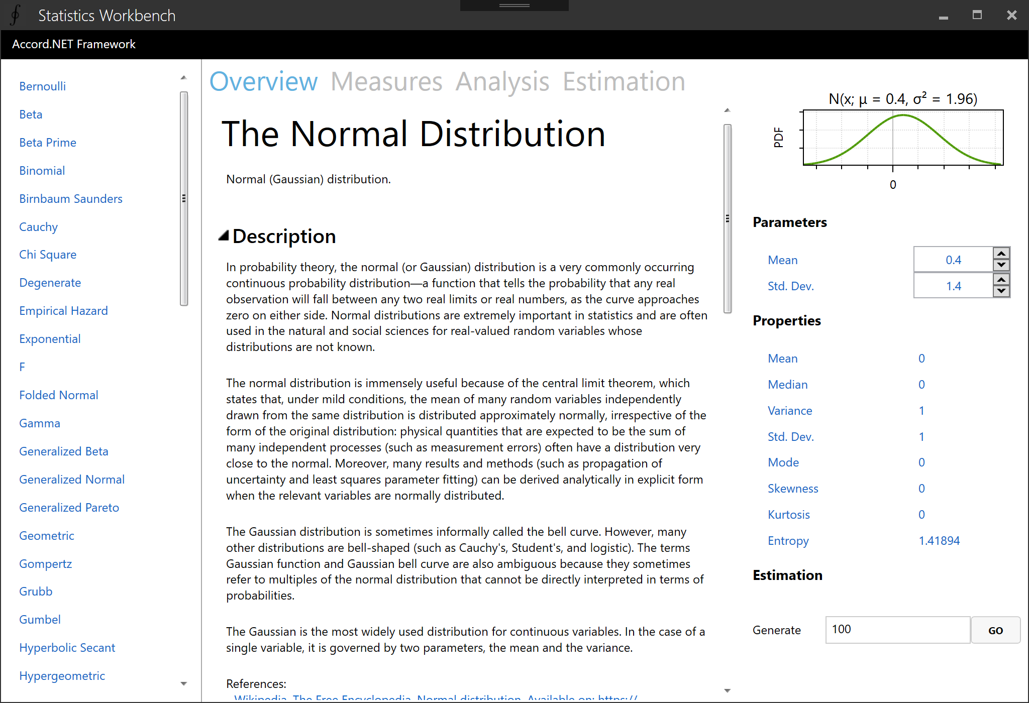 Statistics Workbench (distributions)