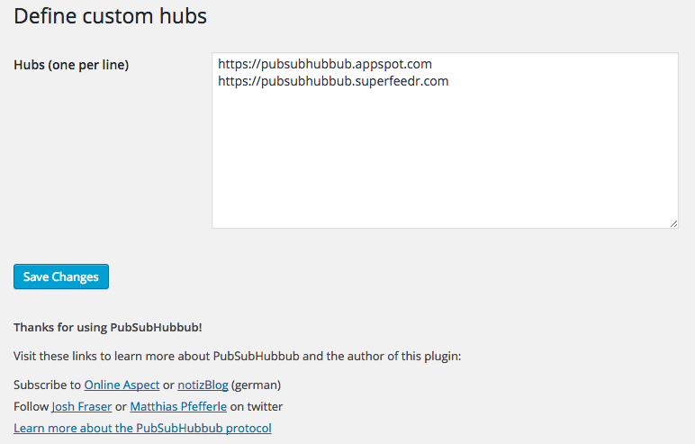 The WebSub Settings page allows you to define which hubs you want to use
