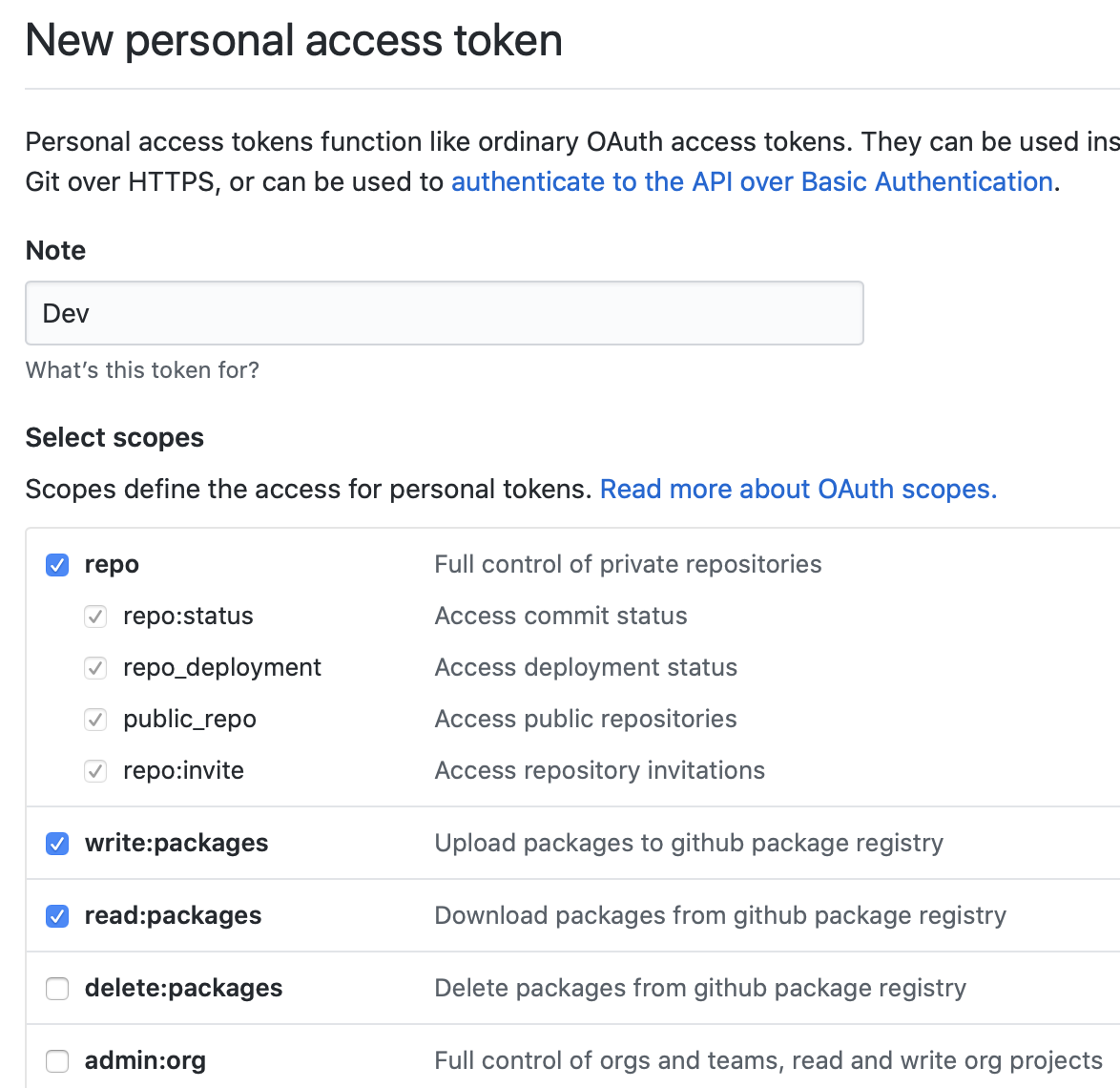 the new personal access token page with the above steps having been followed