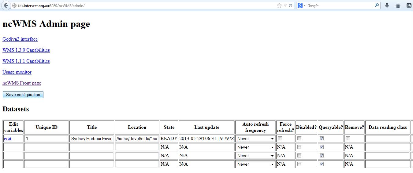 ncWMS Admin page