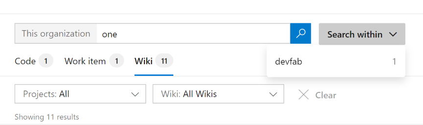 Search for wiki pages across organization