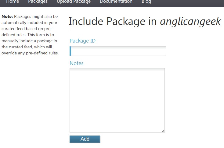 The include package form