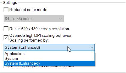 Windows 10 DPI DPI options for compatibility mode