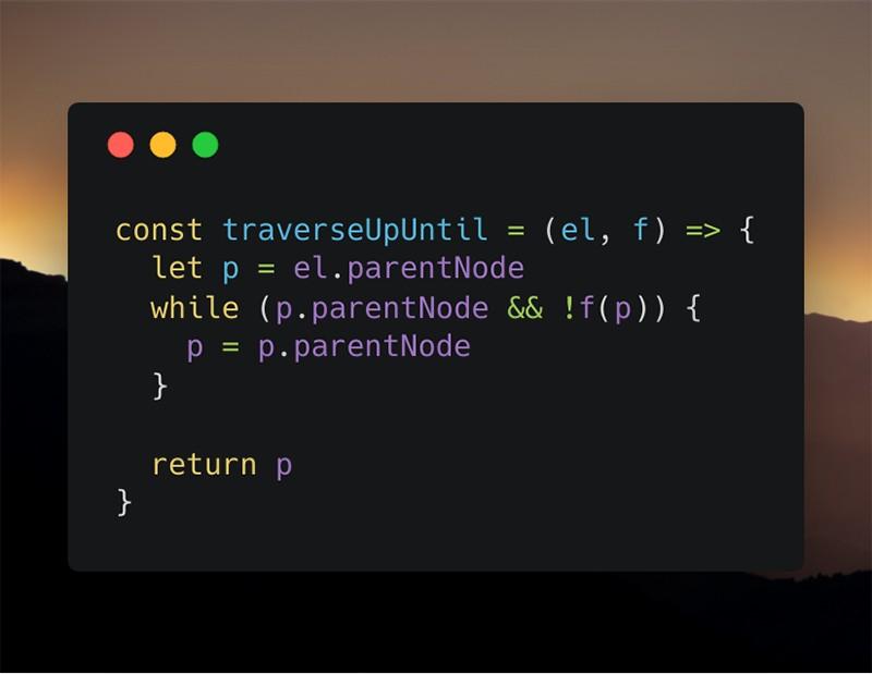 Скриншот плохой версии функции «traverseUpUntil»
