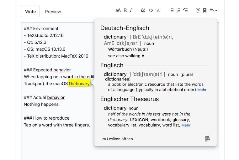 Enable the dictionary function on macOS · Issue #631