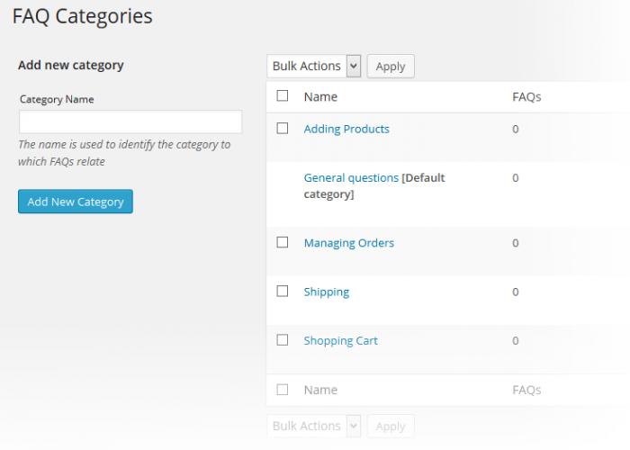 Support System Add FAQ Categories