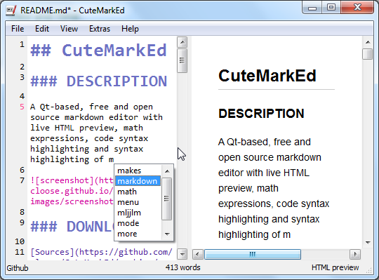 GitHub - cloose/CuteMarkEd: Qt Markdown Editor