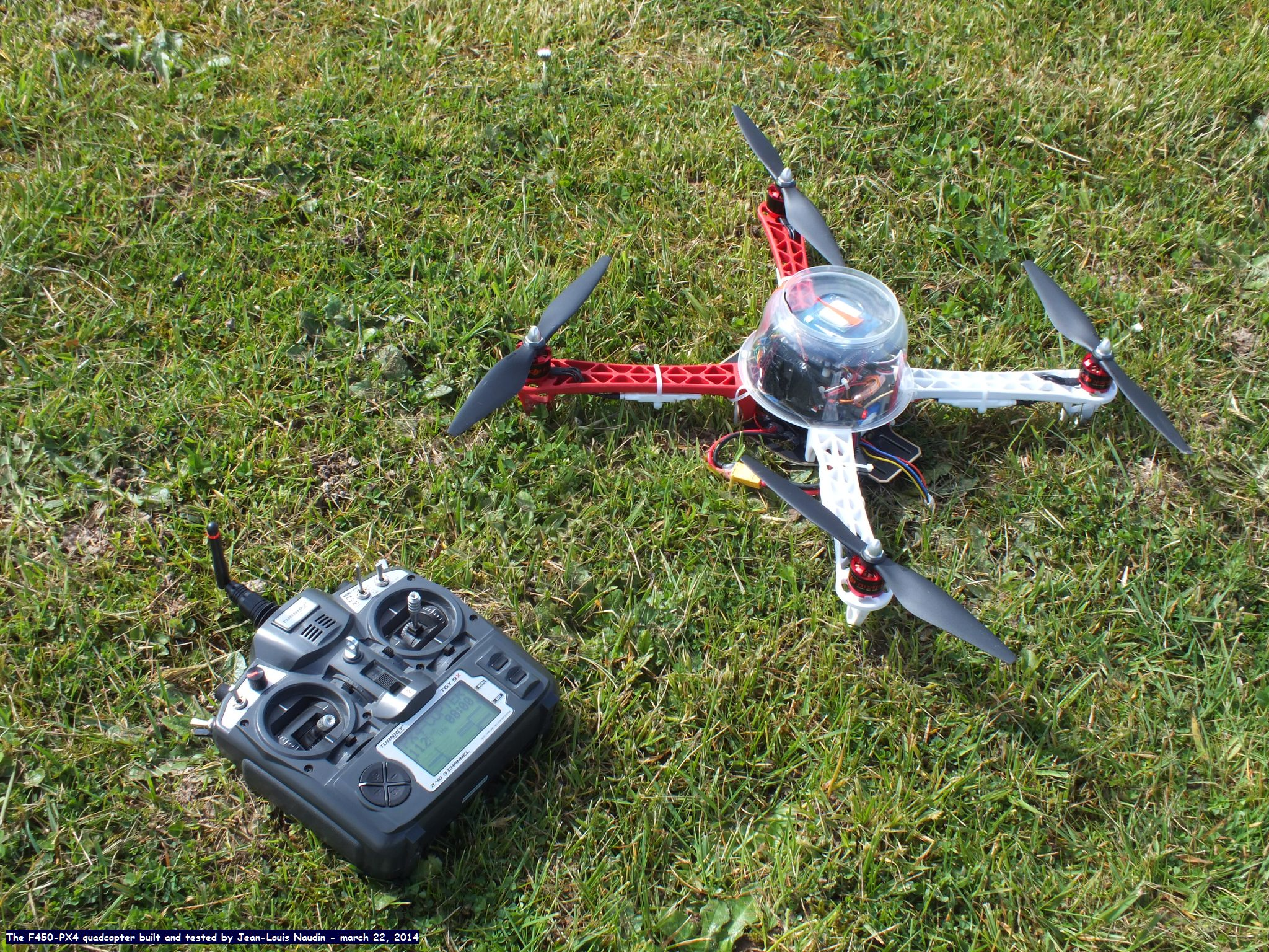 PX4 F450 quadcopter built and tested in flight · jlnaudin/x