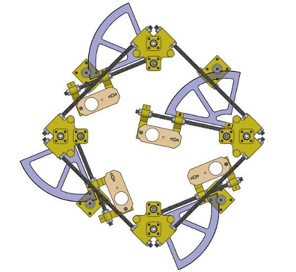 Four robotic arms arranged in a diamond shape