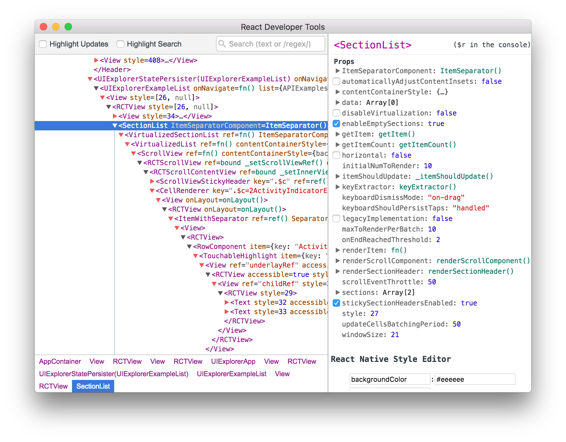 Screenshot of React DevTools running with React Native