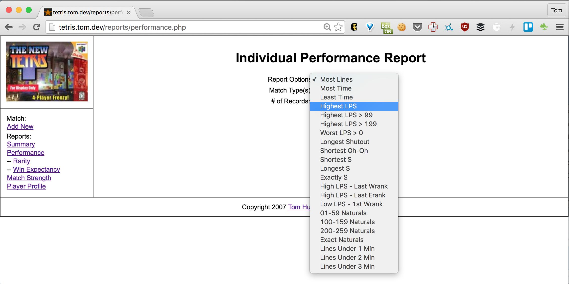 Individual Report Options