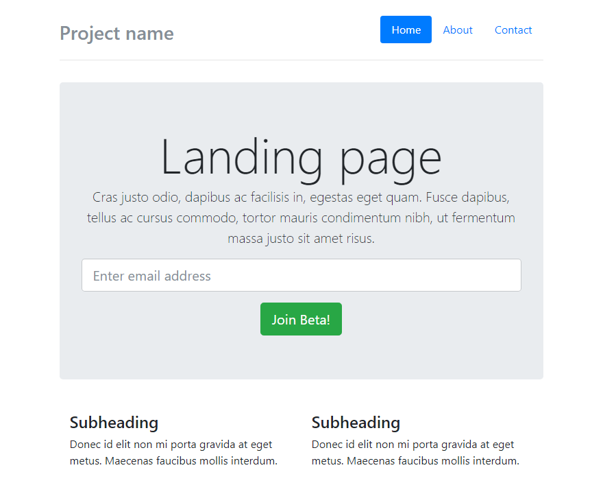 Preview build with sample Bootstrap 4 template
