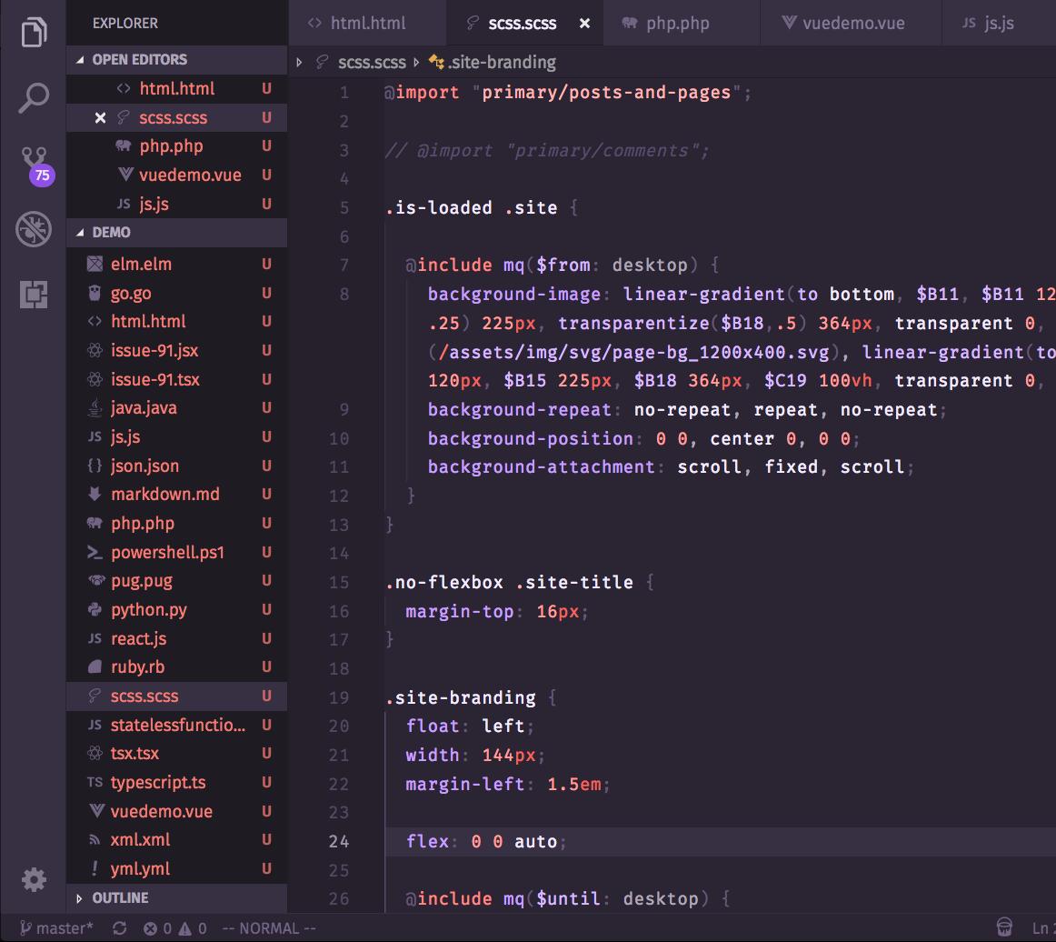 Screenshot of Base2Tone_PoolDark in VSCode