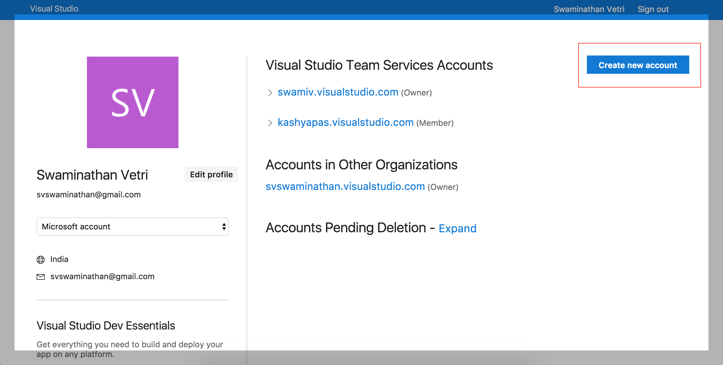 VSTS Create New Account