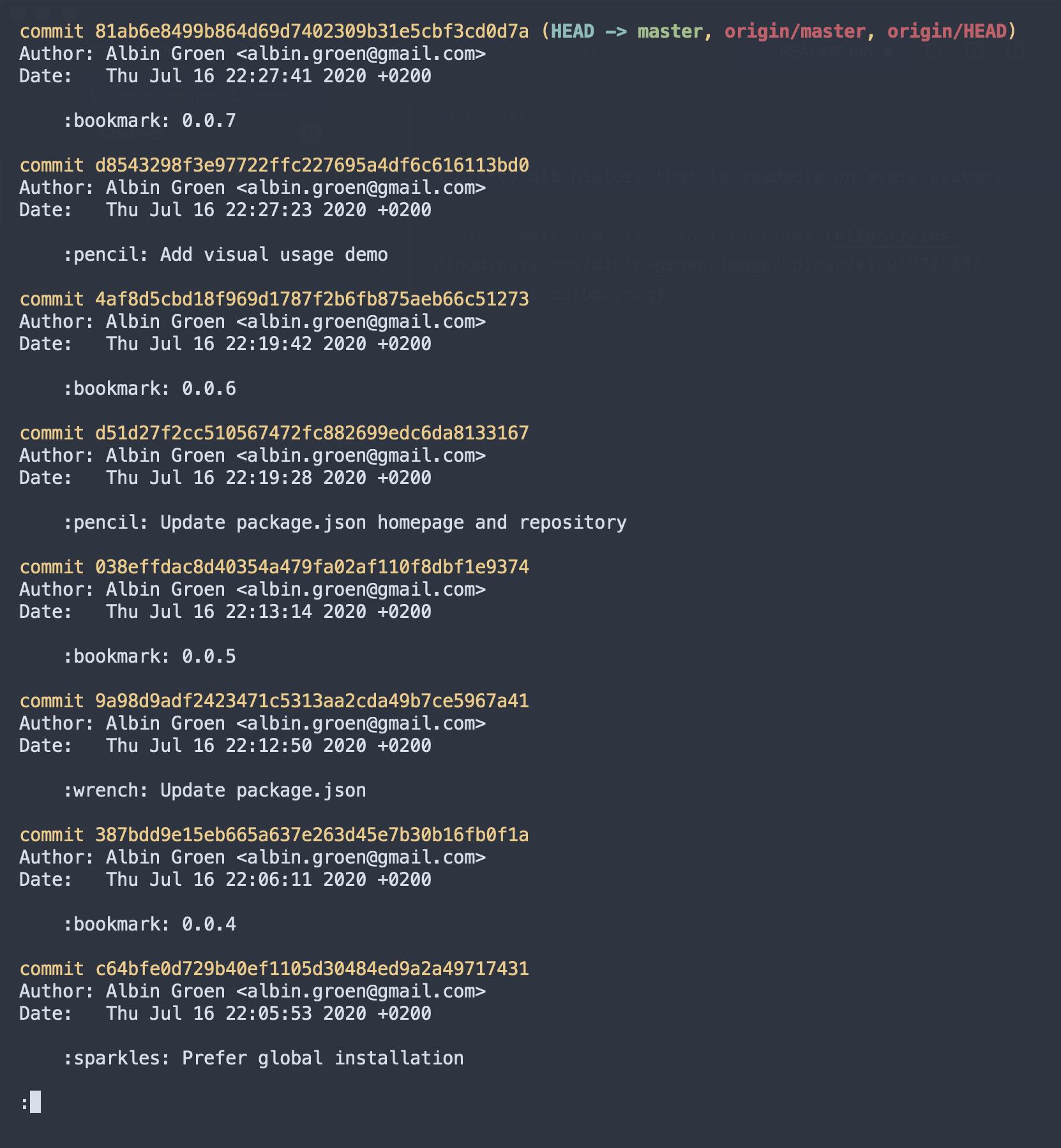 git commit log cli with textual emoji prefixes