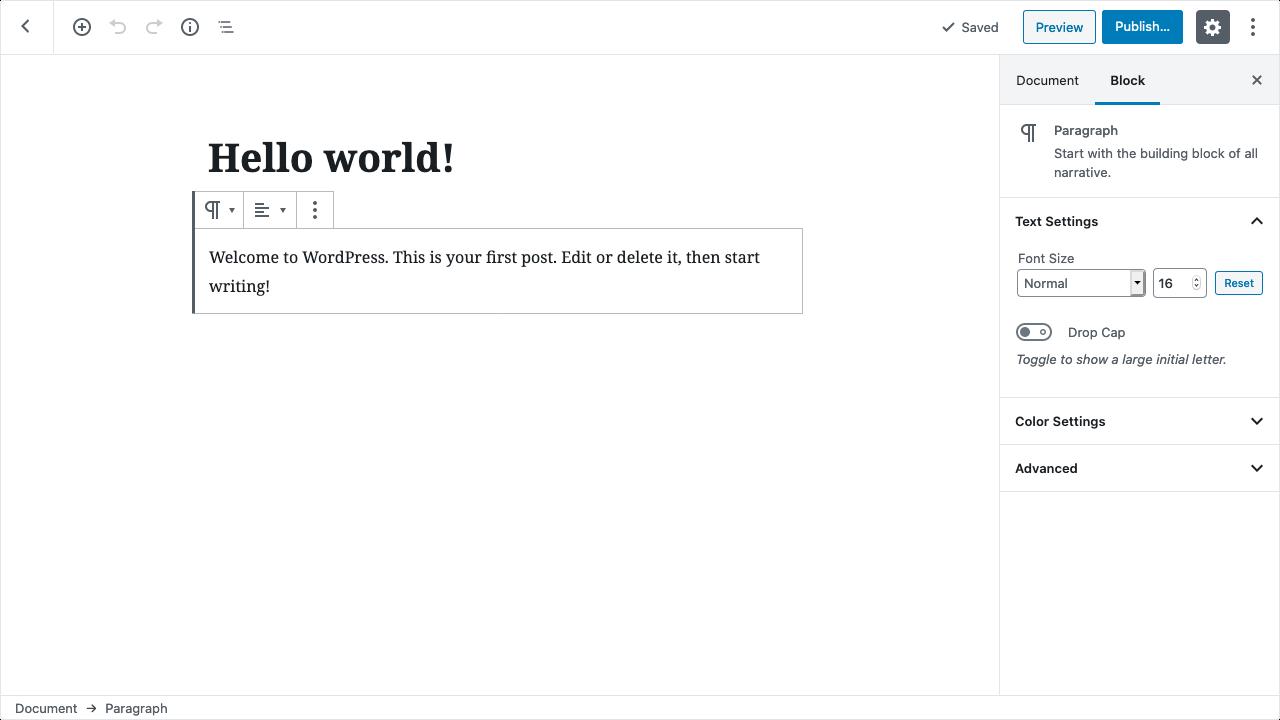 Screenshot of the Gutenberg Editor, editing a post in WordPress