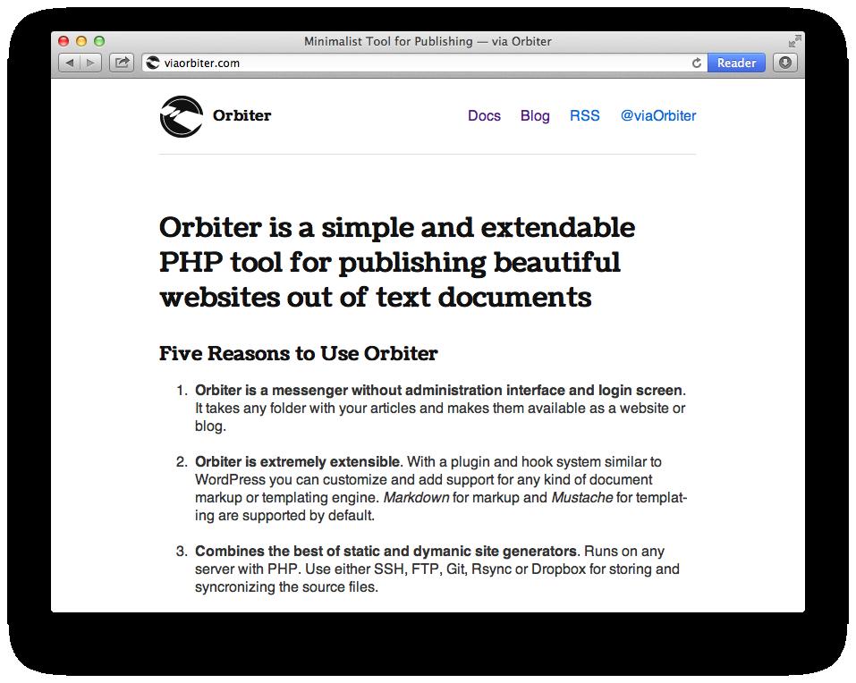 Screenshot of a website create with Orbiter