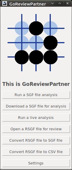 Screen-shot of GoReviewPartner: Main menu