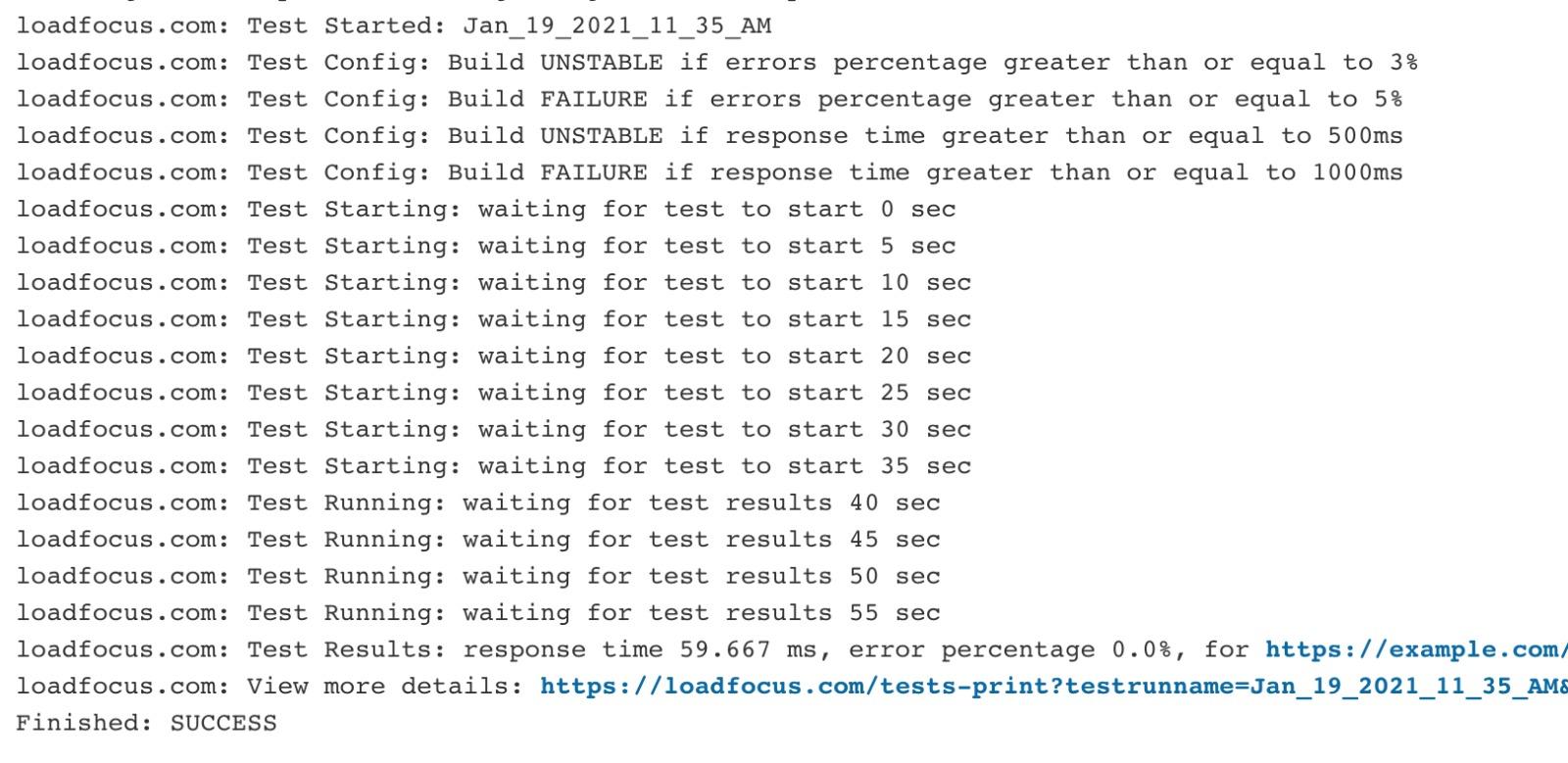 JMeter Load Testing in the Cloud CI/CD Plugin Job Log Results