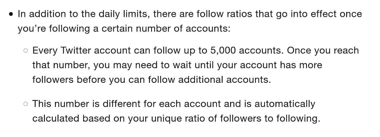Twitter Follow Limits