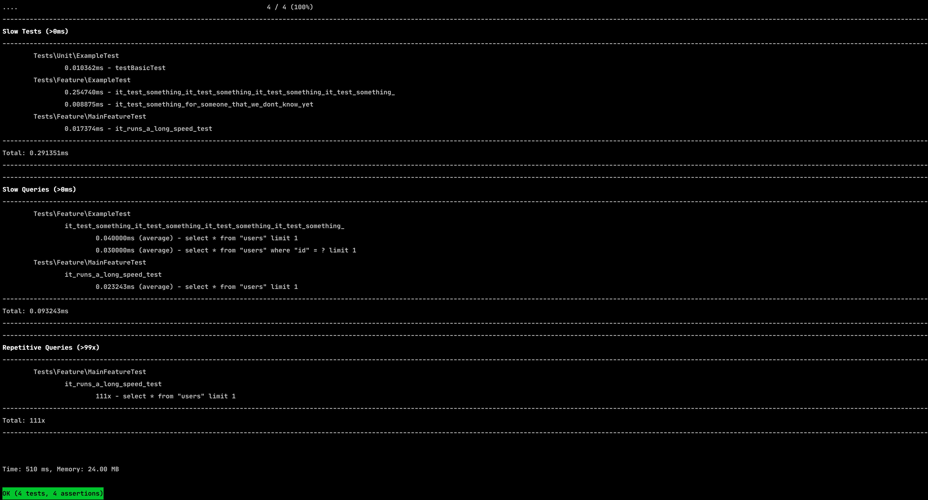 Screenshot of terminal using Laravel Test Trap