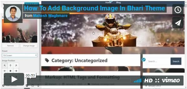 How To Add Background Image In Bhari Theme