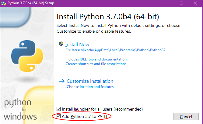 Add Python to PATH