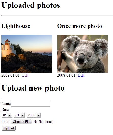 interface with list of uploaded photos