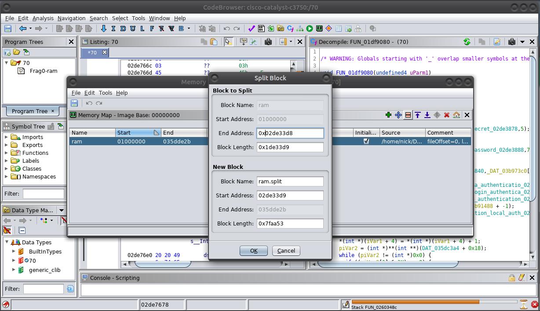Ghidra Memory Map Default Configuration Menu