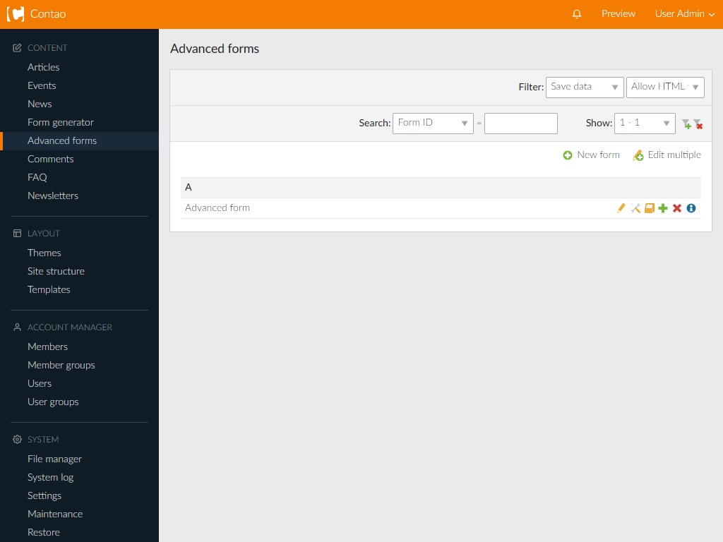 Admin View: Advanced form overview