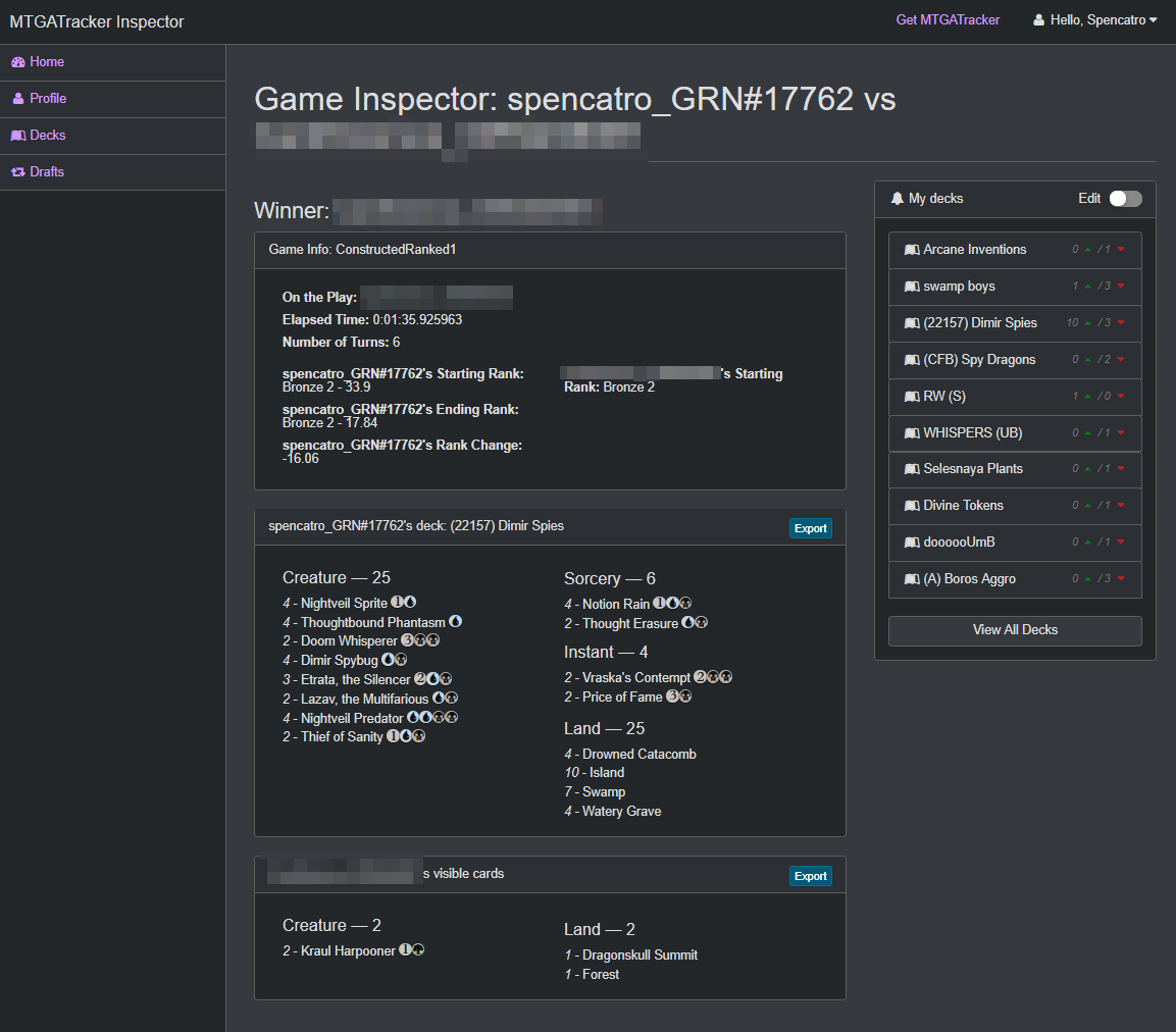 Inspector Single Game View